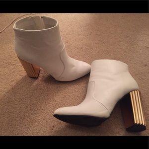 Shoes - White booties with Gold Heel